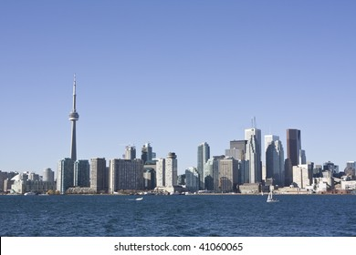 Toronto skyline during the day as seen from on board the toronto island ferry