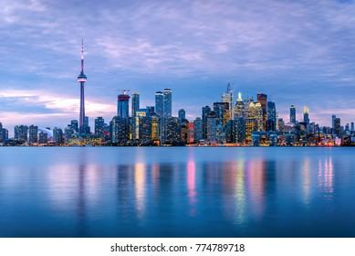 Toronto Skyline at Dusk and Reflection in Water