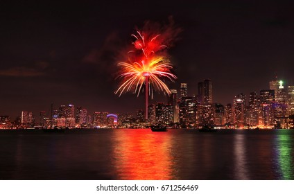 Toronto Skyline with fireworks at night, Ontario, Canada