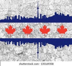 Toronto Skyline and Maple Leaves