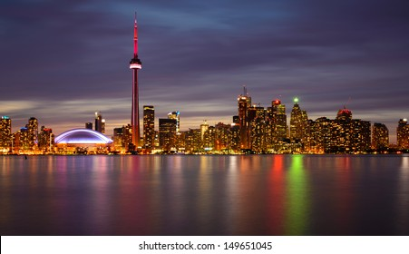 Toronto Skyline at Night and Reflection