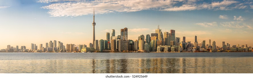 Toronto Skyline with orange light - Toronto, Ontario, Canada