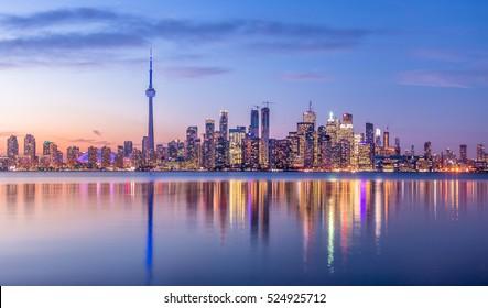 Toronto Skyline with purple light - Toronto, Ontario, Canada - Shutterstock ID 524925712
