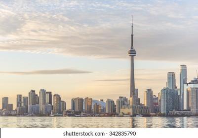 Toronto skyline at sunset.