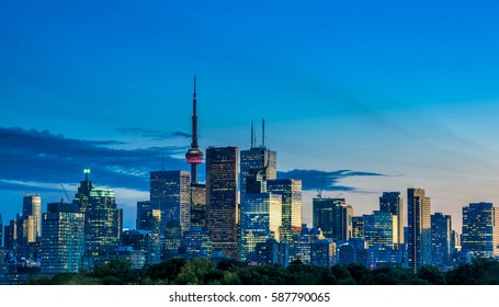 Toronto skyline view from Riverdale park at night, Ontario, Canada