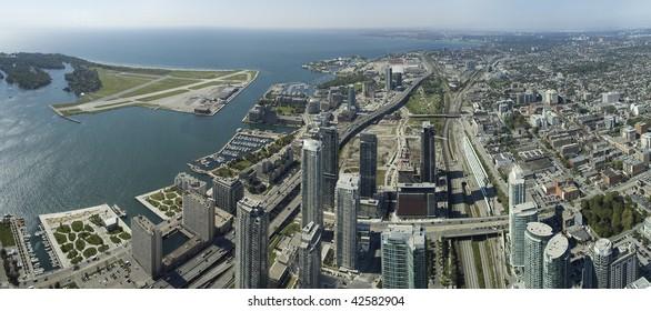 Toronto urban panorama, photo taken from CN Tower