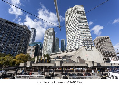 Toronto waterfront buildings and ferry terminal. Province of Ontario, Canada