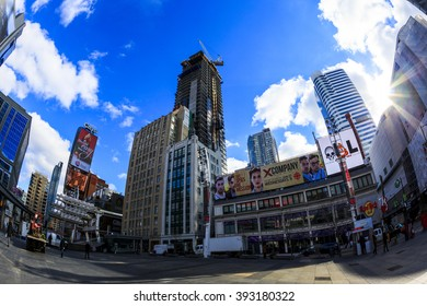 TORONTO,CANADA - FEB 5 2016: Yonge-Dundas Square in Toronto, Canada. Yonge- Dunda Square is a commercial, and public square, hosts many events, and one of Toronto's main attraction.