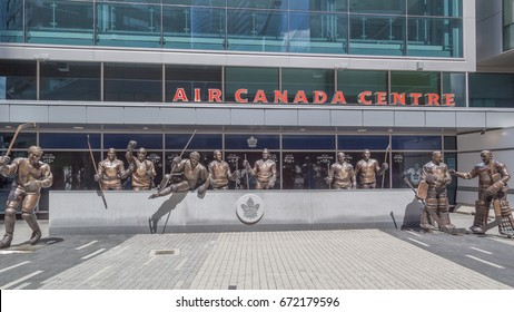 TORONTO,CANADA - JUNE 24, 2017: Legends row outside Air Cabada Centre at Maple Leaf Square in Toronto. Maple Leafs announced on Feb. 2017 adding four more statues to Legends Row,  bring total to 14.