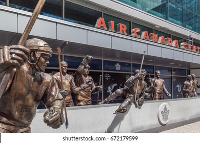 TORONTO,CANADA - JUNE 24, 2017: Legends row outside Air Cabada Centre (renamed Scotiabank Arena in 2018 ) at Maple Leaf Square in Toronto.