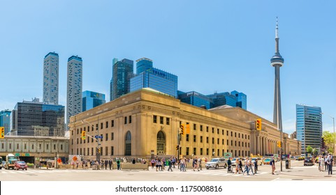 TORONTO,CANADA - JUNE 25,2018 - Building of Railway station in the streets of Toronto. Toronto is the capital city of the province of Ontario and the largest city in Canada.