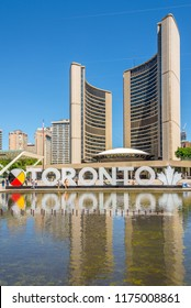 TORONTO,CANADA - JUNE 25,2018 - View at the buildings of New City hall in Toronto. Toronto is the capital city of the province of Ontario and the largest city in Canada.