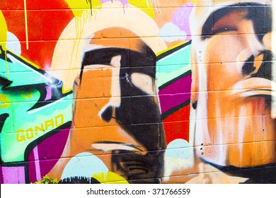 TORONTO,CANADA-16-10-2015:Kensington Market district covered in Graffiti the place is distinctive multicultural neighborhood of the Downtown what also house many small  restaurants and art shops.