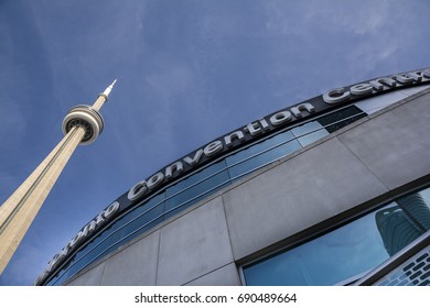 TORONTO,CANADA-AUGUST 2,2015:Suggestive view of the cn tower and the Toronto convention centre in downtown Toronto during a sunny day