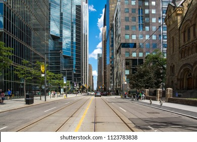 Toronto,Canada-august 3,2015:Urban view of Toronto during a sunny day from one of the central street of the city
