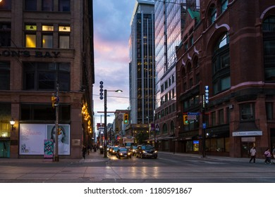 Toronto,Canada-august 4,2015:Urban view of Toronto during a sunset from one of the central street of the city