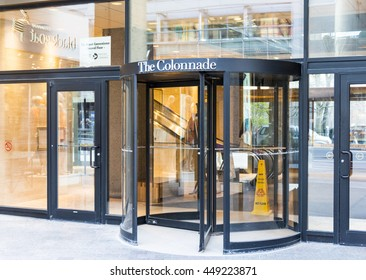 TORONTO,CANADA-JULY 2,2016:The Colonnade store entrance, at downtown Toronto. Retailer of upscale apparel, handbags, fragrances & more from the Italian designer.