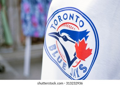 TORONTO,CANADA-July 22,2015: Detail of Blue Jays memorabilia. The Toronto Blue Jays are a professional baseball team located in Toronto, Canada. Members of the Eastern Division of MLB