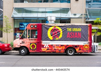 TORONTO,CANADA-JUNE 16,2016:Asian food truck in downtown. Toronto is promoting the variety of food as a tourist attraction.