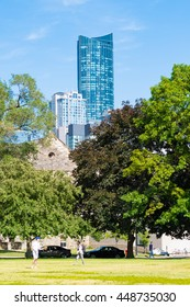 TORONTO,CANADA-JUNE 26,2016: Toronto city skyline from a popular park. The Toronto skyline holds diverse architectural styles and it is a major tourist attraction for visitors
