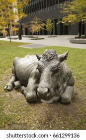 """TORONTO,CANADA-NOVEMBER 20, 2016: Cows sculpture on a park in the city center of Toronto, Ontario, Canada """"The Pasture' part of 7 life size cows by artist Joe Fafard."""
