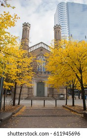 TORONTO,CANADA-NOVEMBER 201,2016: Park and the Church of the Holy Trinity in Toronto city centre.
