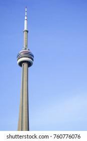 TORONTO,CANADA-November 20,2017: Toronto downtown skyline including tall famous CN Tower.