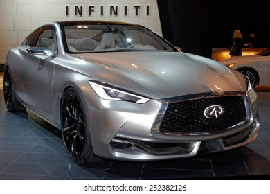 TORONTO-FEBRUARY 12: at the 2015 Canadian International Auto Show Infiniti Q60 Concept is a precursor to a high-performance sports coupe in a premium package