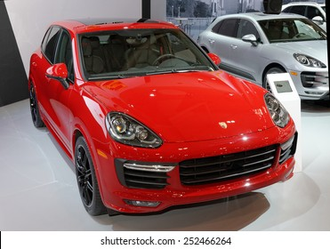 TORONTO-FEBRUARY 12: at the 2015 Canadian International Auto Show Porsche Cayenne GTS has a 0 to 100 km/h (62 mph) time of 5.7 seconds   on February 12, 2015 in Toronto