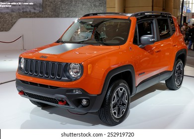 TORONTO-FEBRUARY 12: at the 2015 Canadian International Auto Show  Jeep Renegade designed in USA and crafted in Italy delivers a best-in-class combination of fuel efficiency and Trail Rated capability