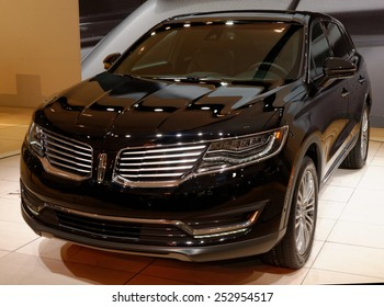 TORONTO-FEBRUARY 12: at the 2015 Canadian International Auto Show , Lincoln MKX offers a distinctly powerful ride with 3.7L Ti-VCT V6 engine and 305hp on February 12, 2015 in Toronto