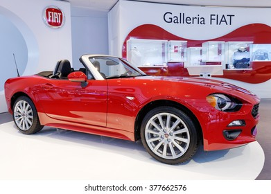 TORONTO-FEBRUARY 12: at the 2016 Canadian International AutoShow, the 2017 Fiat 124 Spider features distinctive Italian bodywork with the underpinnings from the Mazda MX-5