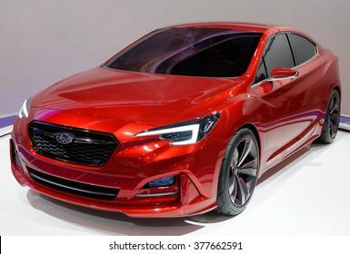 TORONTO-FEBRUARY 12: at the 2016 Canadian International AutoShow, all new Subaru Impreza Sedan Concept is Subaru's next-generation strategic vehicle