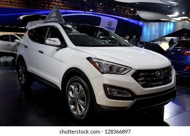 TORONTO-FEBRUARY 14:  Hyundai Santa Fe at the 2013 Canadian International Auto Show on February 14, 2013 in Toronto