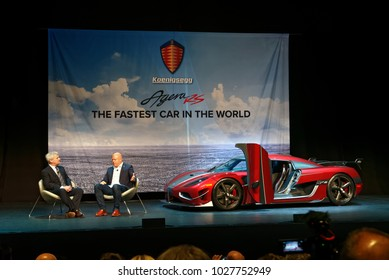 TORONTO-FEBRUARY 15: at the 2018 Canadian International AutoShow,AJAC President Mark Richardson interviewing Christian von Koenigsegg and the fastest car in the world – Koenigsegg Agera RS