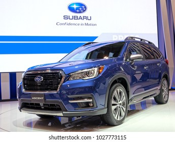 TORONTO-FEBRUARY 15: at the 2018 Canadian International AutoShow,  Subaru Celebrates 40 Years in Canada at Canadian  Auto Show with the 2019 Subaru Ascent