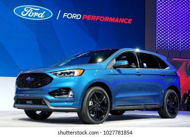 TORONTO-FEBRUARY 15: at the 2018 Canadian International AutoShow, 2019 Ford Edge ST comes with 2.7L EcoBoost engine that generates 335 hp has 8-speed automatic transmission and all-wheel drive