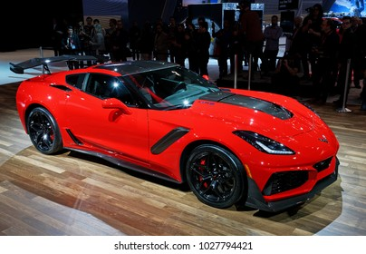 TORONTO-FEBRUARY 15: at the 2018 Canadian International AutoShow,  The all new 2019 ZR1 is the fastest production Corvette ever with a supercharged 6.2-litre LT5 V-8 engine