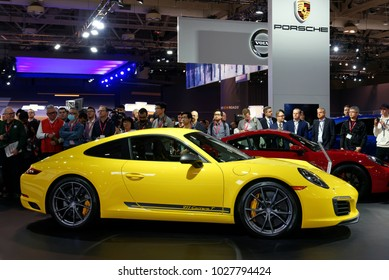 TORONTO-FEBRUARY 15: at the 2018 Canadian International AutoShow,  the all new Porsche 911 Carrera T engine delivers 370 hp and it can sprint from 0 to 100 km/h in 4.5 seconds