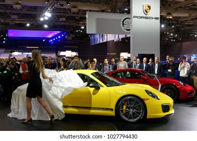 TORONTO-FEBRUARY 15: at the 2018 Canadian International AutoShow,  unveiling the all new Porsche 911 Carrera T