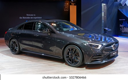 TORONTO-FEBRUARY 15: at the 2018 Canadian International AutoShow, Mercedes-AMG CLS 53 4MATIC features a new, electrified 3.0-litre twin-turbo six cylinder in-line engine and generates 429 hp