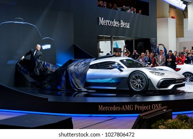 TORONTO-FEBRUARY 15: at the 2018 Canadian International AutoShow,  Brian Fulton, President & CEO, Mercedes-Benz Canada, unveils the Mercedes-AMG Project ONE hypercar