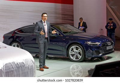 TORONTO-FEBRUARY 15: at the 2018 Canadian International AutoShow,  Georgio Delucchi, President, Audi Canada, presents A7 Sportback with 340hp 3.0-litre V6 capable of 0 to 100 km/h in just 5.3 sec
