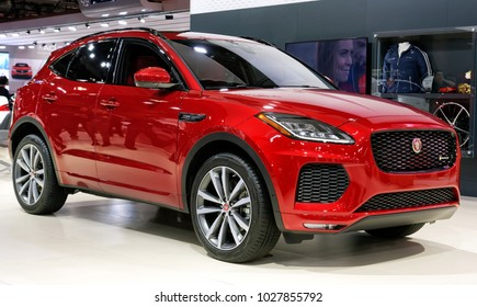 TORONTO-FEBRUARY 15: at the 2018 Canadian International AutoShow, Jaguar E-PACE has 2.0L turbocharged I-4 engine, from 246hp to 296hp and all-whill drive at all trim levels