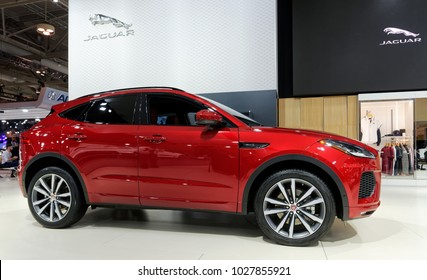 TORONTO-FEBRUARY 15: at the 2018 Canadian International AutoShow, Jaguar E-PACE, with a very contemporary style and a luxurious cabin. is a new rival to BMW X2, Mercedes-Benz GLA and Volvo XC40