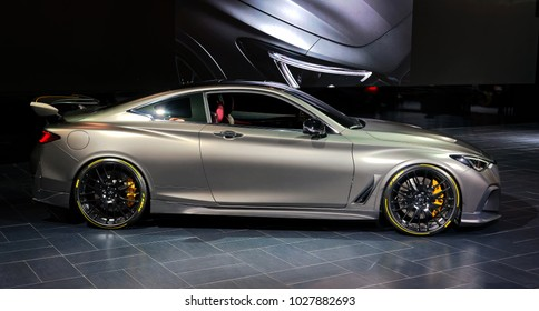 TORONTO-FEBRUARY 15: at the 2018 Canadian International AutoShow, Project Black S Concept has hybrid powertrain and it is design from Infiniti and the Renault Sport Formula One Team