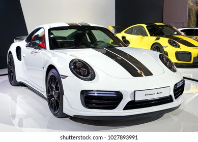 TORONTO-FEBRUARY 15: at the 2018 Canadian International AutoShow,Porsche 911 Turbo S Exclusive Series has 3.8 litre biturbo flat six cylinder engine with 607 hp and sprint from 0-100km/h in 2.9 sec