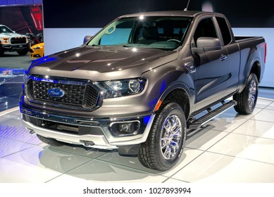 TORONTO-FEBRUARY 15: at the 2018 Canadian International AutoShow, The new 2019 Ford Ranger comes with 2.3 liter EcoBoost engine and 10 speed automatic transmission