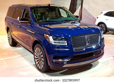 TORONTO-FEBRUARY 15: at the 2018 Canadian International AutoShow,  the 2018 Lincoln Navigator SUV has 3.5-litre, twin-turbo V6 engine with power upped to 450 horses and 10-speed automatic transmission