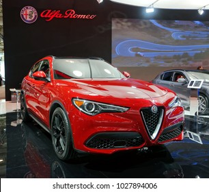 TORONTO-FEBRUARY 15: at the 2018 Canadian International AutoShow, Alfa Romeo Stelvio is powered by a 2.0-litre, four-cylinder turbo engine, has 280hp, acceleration in 5.5 sec and top speed of 232km/h